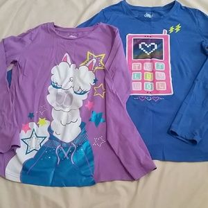 2 Long-sleeved Girl's Graphic Tees XL 14/16